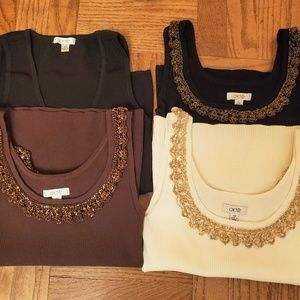Lot of 4 Excellent Women's Cache Knit tops Size XS